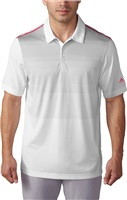 Adidas Mens Climacool Ombre Stripe Golf Polo White/Shock Pink