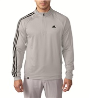 Adidas Mens 3 Stripe Quarter Zip LC Golf Top Stone