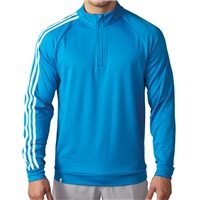 Adidas Mens 3-Stripe Quarter Zip Golf Top Shock Blue