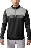 Adidas Mens Climacool Colour Blocked Quarter Zip Golf Top Black/Stone/Vista Grey