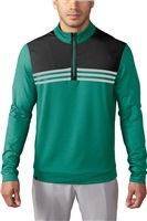 Adidas Mens Climacool Colour Blocked Quarter Zip Golf Top EQT Green/Stone/Black