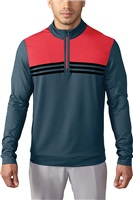 Adidas Mens Climacool Colour Blocked Quarter Zip Golf Top Mineral Blue/Shock Red/Black