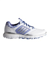 Adidas Womens Adistar Sport Golf Shoes White/Silver Metallic/Baja Blue
