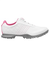 Adidas Womens Driver Boa Golf Shoes White/Semi Solar Pink/Metallic Silver