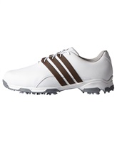 Adidas Pure Traxion Golf Shoes White/Brown/Silver Metallic