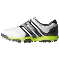 Adidas Tour360 X Golf Shoes White/Dark Silver Metallic/Solar Yellow