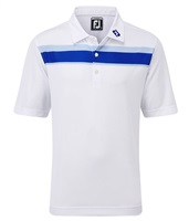 FootJoy Boys Smooth Pique Double Chest Stripe Polo Shirt White/Royal/Light Blue