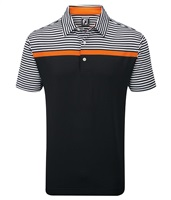 FootJoy Lisle Engineered Stripe Polo Shirt Black/White/Orange Stripe
