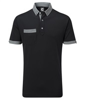 FootJoy Smooth Pique with Houndstooth Collar Polo Shirt Black/Grey/Black