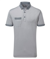 FootJoy Smooth Pique with Houndstooth Collar Polo Shirt Heather Grey/Navy/White