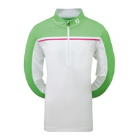 FootJoy Junior Golf Chill Out Pullover with Chest Piping White/Mint/Berry