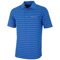 Greg Norman Micro Pique Fine Stripe Golf Polo Shirt Blue/White 2016