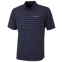 Greg Norman Micro Pique Fine Stripe Golf Polo Shirt Navy/White 2016