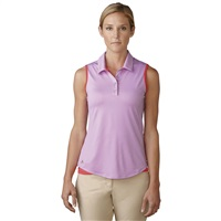Adidas Ladies Essentials 3-Stripe Sleeveless Golf Polo Wild Orchid/Shock Red 2016