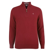 Calvin Klein Golf Zip Neck Superwool Sweater Burgundy 2016