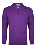 Calvin Klein Golf Zip Neck Superwool Sweater Purple 2016
