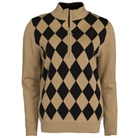 Green Lamb Ladies Bibi Lined Argyle Half Zip Sweater Gold/Black 2016