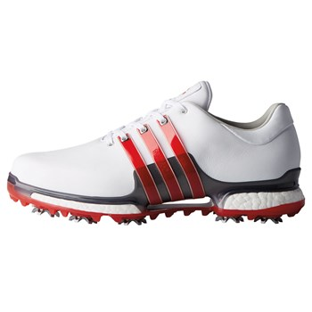 Adidas Tour360 Boost 2.0 Shoes Cloud White/Scarlet/Dark Silver Metallic   - Click to view a larger image