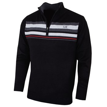 Cutter & Buck Striped Lined Windblock Golf Sweater Black 2018