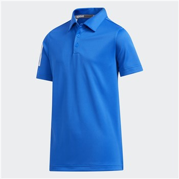 Adidas Boys 3 Stripes Polo Shirt Glory Blue  - Click to view a larger image