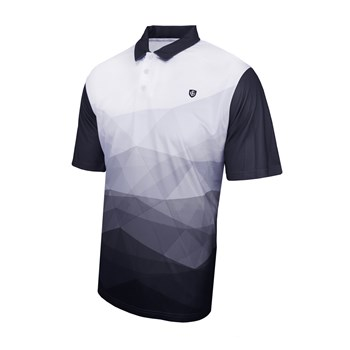 Island Green Abstract Design Polo Shirt Black/White  - Click to view a larger image