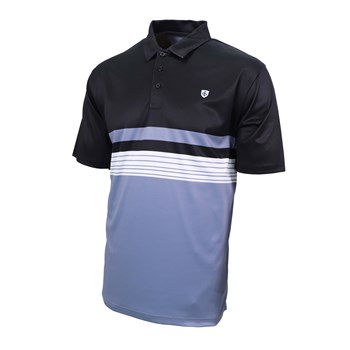 Island Green Chest Print Polo Shirt Black/Cosmic Blue  - Click to view a larger image