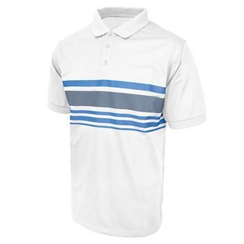 Island Green Chest Stripe Golf Polo Shirt White/Charcoal