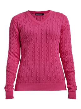 Rohnisch Ladies Cable Pullover Fuchsia
