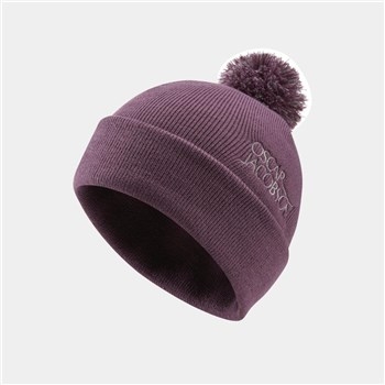 Oscar Jacobson Knitted II Bobble Golf Beanie Plum  - Click to view a larger image