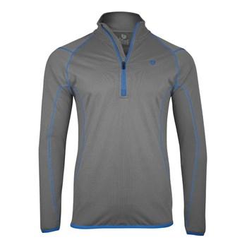 Island Green Contrast Stitch Thermal Zip Neck Top Layer Grey/Marine