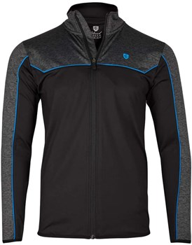 Island Green Contrast Yoke 1/4 Zip Top Layer Black Marl/Marine  - Click to view a larger image