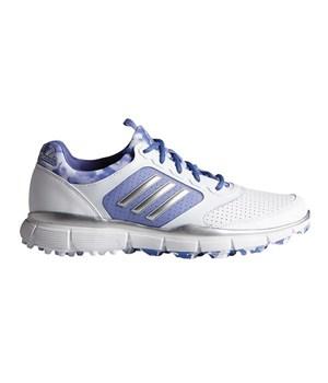 Adidas Womens Adistar Sport Golf Shoes White/Silver Metallic/Baja Blue