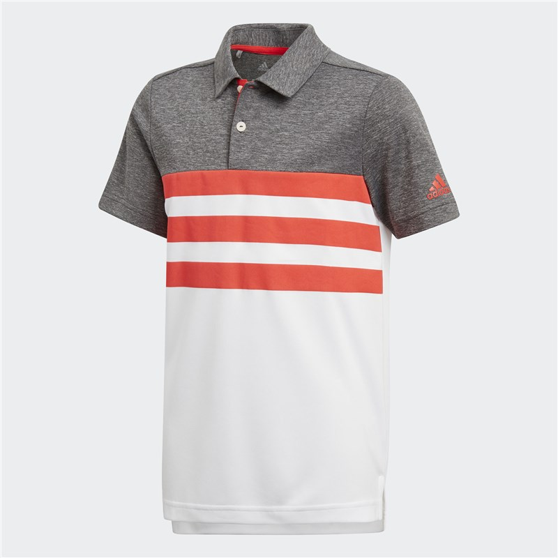 Adidas Junior 3 Stripes polo blanco / hi res Rojo 2018