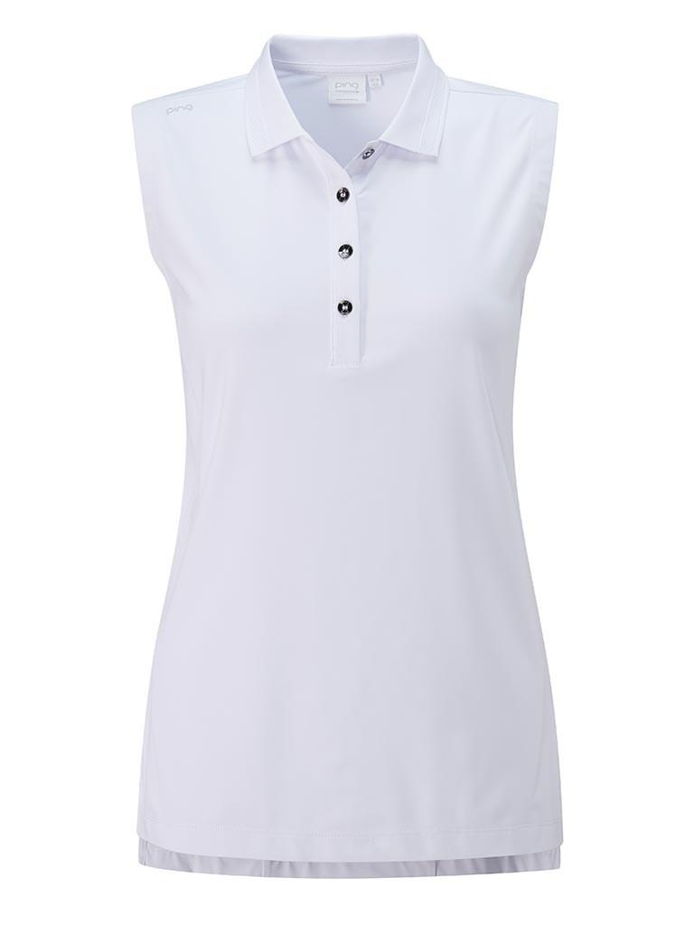 Ladies Solene Sleeveless Polo Shirt White - 12 UK